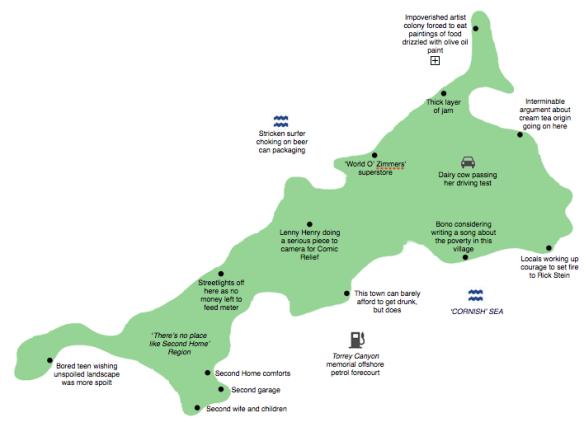 Cornwall county map