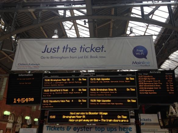 Marylebone arrivals board